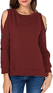 OSTELY Women's Pullover, Solid Casual Long Sleeve Hem One Strappy Cold Shoulder Tops Blouse