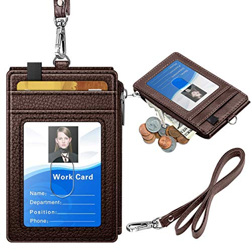 ELV Badge Holder with Zipper, PU Leather ID Badge Card Holder Wallet with 5 Card Slots, 1 Side RFID Blocking Pocket and 20 inch Neck Lanyard Strap for Offices ID, School ID, Driver Licence (Brown)