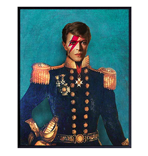 David Bowie Poster, Vintage Retro Pop Art Wall Art, Home Decor - Ziggy Stardust Art Print - Unique Room Decorations for Living Room, Bedroom, Dining Room - Gift for Modern Art, 80's Music Fans - 8x10