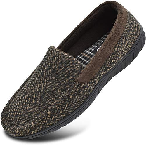 Zapatillas de mocasín de Espuma viscoelástica para Hombre Zapatos de casa sin Cordones con Suela de Goma para Interiores y Exteriores Azul Talla 46