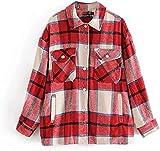 NDCATHE Chaqueta de guisante para mujer, holgada, camisa a cuadros, abrigos casuales con bolsillo