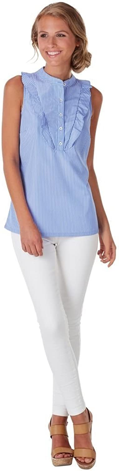 Mud Pie Womens Carrie Ruffle Summer Top, Light bluee & White Stripe