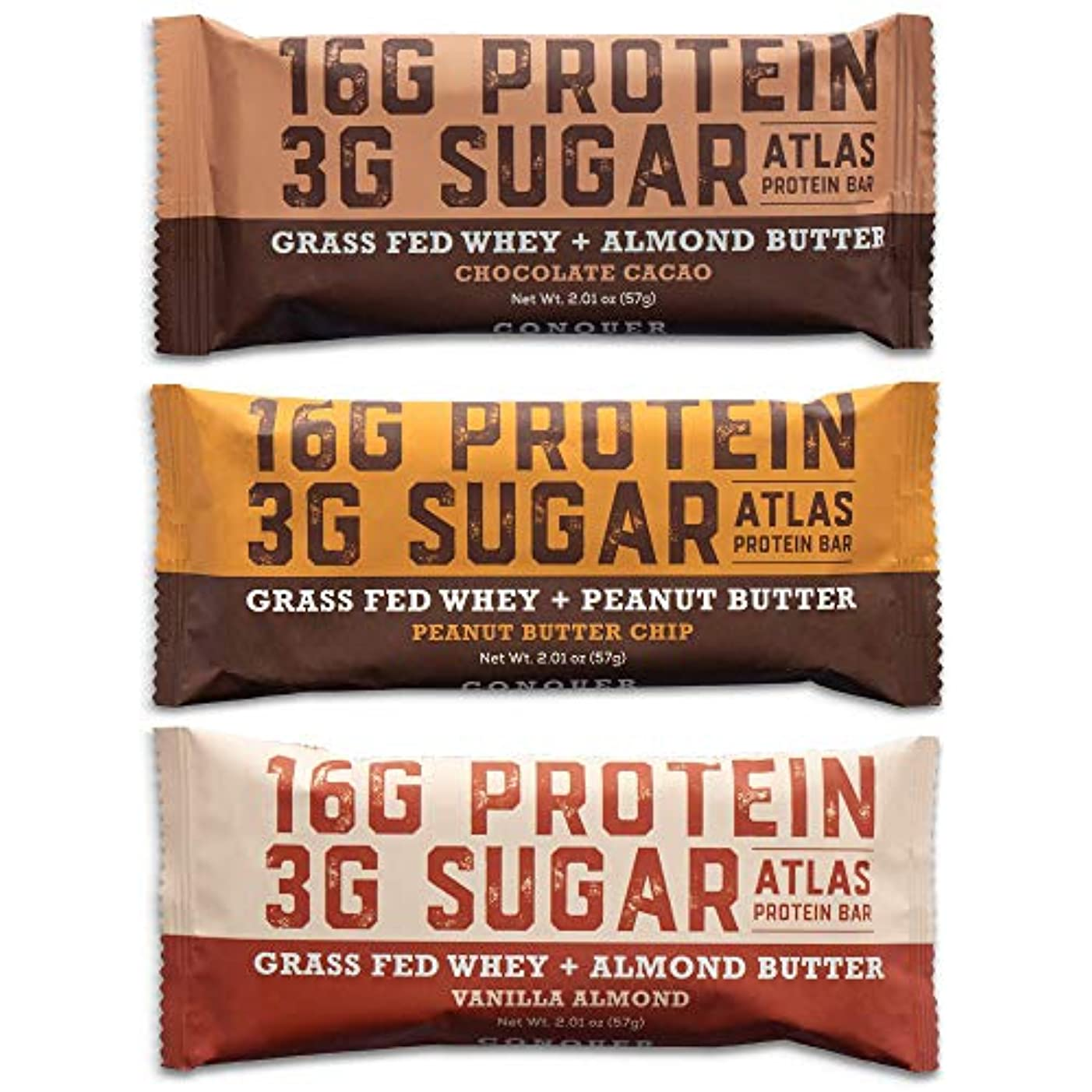 Atlas Bar - Keto/Low Carb Friendly Protein Bar, Variety Pack, 2.01 Ounce (9-Pack, 3 of Each Flavor) — Grass Fed Whey, Low Sugar, Clean Ingredients, All Natural, Gluten Free, Soy Free, and GMO Free