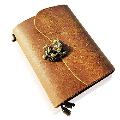 Scrodcat Ledertagebuch Notizbuch handgefertigt ledergebunden für Männer und Frauen mit Blanko-Seiten Reisetagebuch Schloss (L-Crazyhorse, 14x11cm)