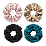 LilySilk 100% Mulberry Silk Scrunchies, Elastic Hair Bobbles Ponytail Holder Hair Scrunchy Vintage Hair Ties Accessories, 4 Pack