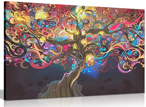 Psychedelic Trippy Art Tree Canvas Wall Art Picture Print (30x20in)