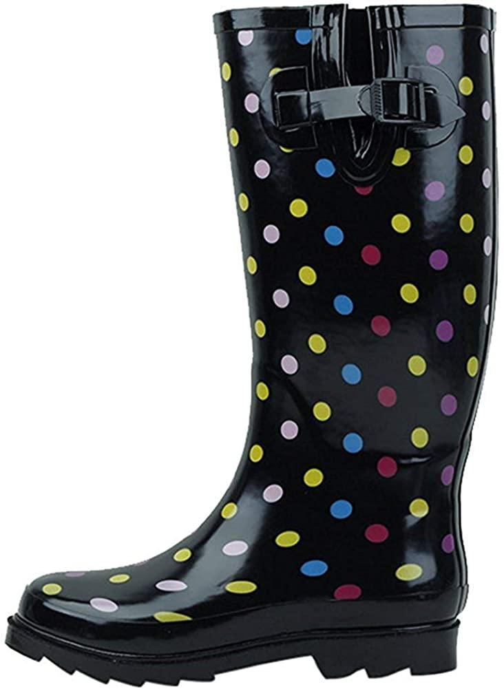G4U Women's Rain Boots Multiple Styles Color Mid Calf Wellies Buckle Fashion Rubber Knee High Snow Shoes (7 B(M) US, Colors Dots)