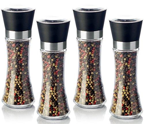 1aTTack.de Pfeffermühle Salzmühle 4er Set mit verstellbarem Keramikmahlwerk Chilimühle - ohne Gewürzinhalt - 180ml Schwarz