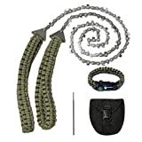 Pocket Chainsaw,36 Inch 24 Teeth Long Hand Saw Chain With Paracord Handle And Survival Bracelet Kit For Camping Survival Gear Outdoor, Fast Wood & Tree Cutting Portable Compact Saws