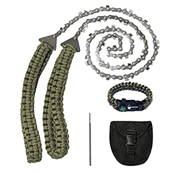 Pocket Chainsaw,36 Inch 24 Teeth Long Hand Saw Chain With Paracord Handle And Survival Bracelet Kit For Camping Survival Gear Outdoor Fast Wood & Tree Cutting Portable Compact Saws