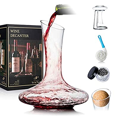 YouYah Wine Decanter with Drying Stand, Stopper, Brush and Beads,Red Wine Carafe, Wine Accessories, Wine Gift, Hand Blown 100% Lead Free Crystal Glass(Classic)
