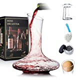 YouYah Wine Decanter Set with Drying Stand,Stopper,Brush and Beads,Red Wine Carafe,Wine Gi...