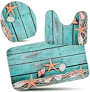 SKEIDO 3-Piece Bath Mat Set Bath Rug Set Non Slip Bathroom Rugs for Kitchen Shower and Toilet (Starfish Floor) Pedestal Ru...