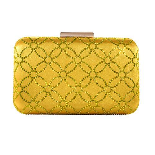 DMIX Damen Abendtasche und Handtaschen, Satin, Seide, Hartschale, Kristall, groß, Gelb (gelb), Small