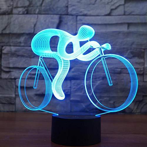 3D nachtlampje illusie lamp LED kinderen fiets jong licht sfeerlicht afstandsbediening bedlampje 7 kleuren wisselende afstandsbediening bureau lampen verjaardagscadeau