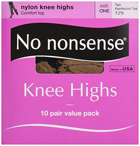 No Nonsense Women's 10 Pair Value Pack Knee High Pantyhose with Reinforced Toe, Tan, One Size