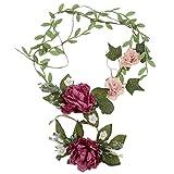 1X Toruiwa Braut Haarband Stirnband Haarkranz Blumenkrone Garland mit Blumen Armband zum Hochzeit Parteien (Lila)