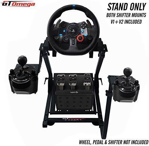 GT Omega Lenkradständer PRO für Logitech G923 G29 G920 mit Schalt anbringen V1 und V2, Thrustmaster T500 T300 TX und TH8A - PS4 Xbox Fanatec - Neigungsverstellbares Design für ultimatives Sim Racing
