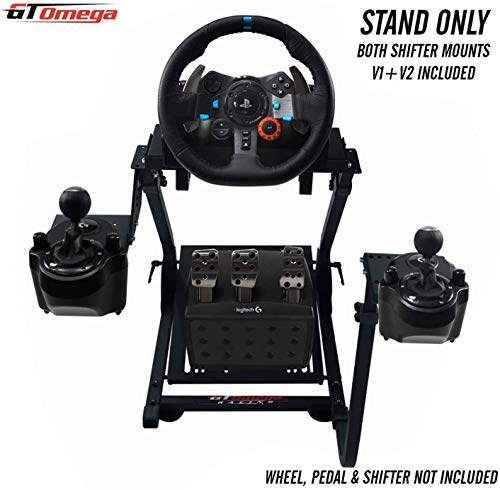 GT Omega Steering Wheel Stand PRO for Logitech G923 G29 G920 with Shifter Mount V2, Thrustmaster T500 T300 TX & TH8A - PS4 Xbox Fanatec - Tilt-Adjustable Design to Ultimate Sim Racing