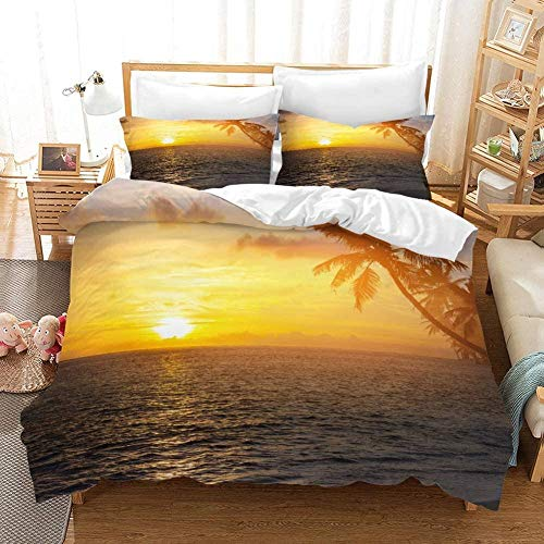 Damqskd Summer Plant Sea Beach Nature Sunset - King (220 X 230 Cm) - Duvet Cover With 2 Pillowcases 3D Printed Bedding Set With Zipper Closure 3 Pieces Hypoallergenic Soft Microfiber Double