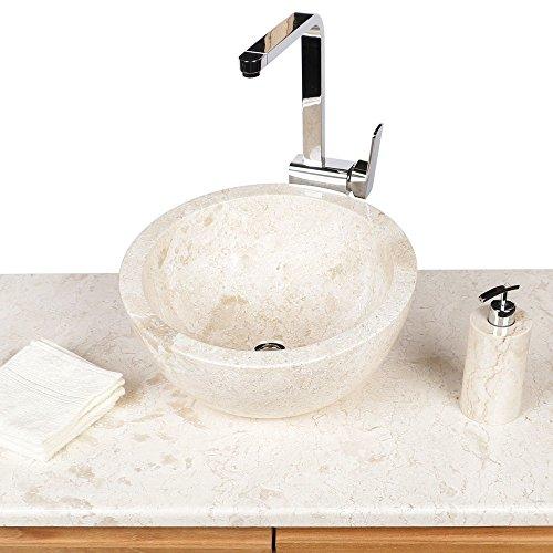 wohnfreuden marmer natuursteen wastafel 40 cm asymmetrisch stenen wasbak gastentoilet