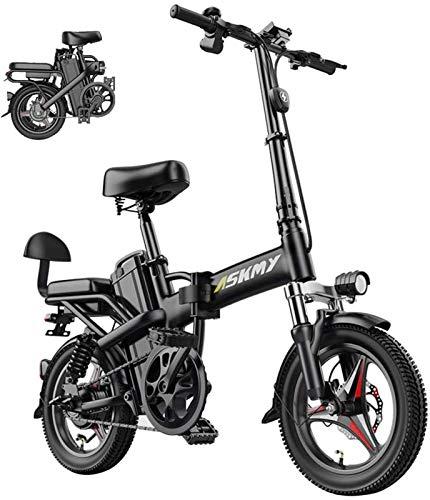 RDJM Bici electrica, 14 Pulgadas de Nieve eléctrico del Asiento de la Bici de montaña Plegable 350W de la Bici con Trasero y Disco de Freno con 48V 25AH batería de Litio (Size : 25AH)