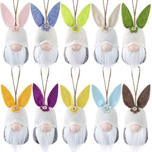 Easter Hanging Bunny Ornaments Set of 10, Colorful Plush Bunny Gnomes Easter Gnomes Tree Ornament Decorations
