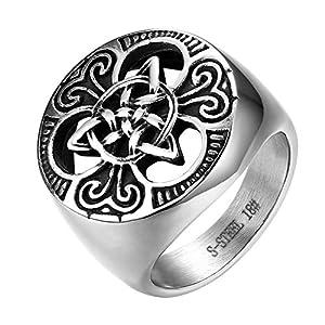JewelryWe Schmuck Herren-Ring, Edelstahl Keltischer Knoten Triquetra Irischen Dreiecksknoten Gothic Siegelring Rund Ring, Silber, Größe 62