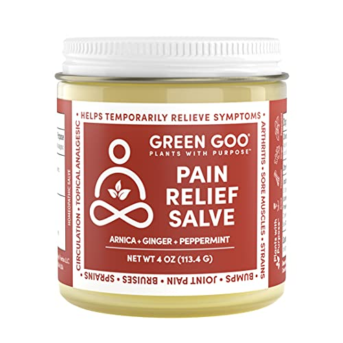 Green Goo Natural Skin Care Salve, Pain Relief with Arnica, 4-ounce Jar