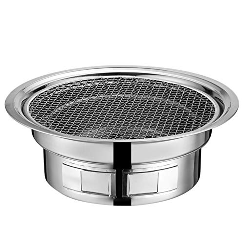 FEANG Runder Edelstahlgrill, tragbarer Kleiner Holzkohle-Grill BBQ Mini BBQ-Ofen für den Außenpicknick-Patio-Hinterhof Camping Kochen (Color : A, Größe : Small)