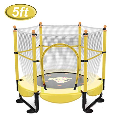 LGPNB trampolines 5ft outdoor Small bounce bed, with Enclosure Net Jumping Mat and Spring Cover Padding Trampoline Jump Indoor Outdoor Trampoline,Home children's indoor fitness-yellow