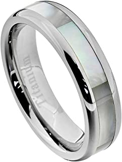 6mm Women's Titanium Ring Wedding Band Mother of Pearl Inlay High Polish Edge Size 5-10 SPJ