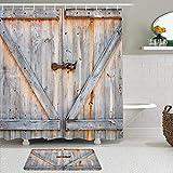 Juego de cortinas y tapetes de ducha de tela,Puerta de granero de madera rústica Western Farmhouse Tablero de madera d,cortinas de baño repelentes al agua con 12 ganchos, alfombras antideslizantes