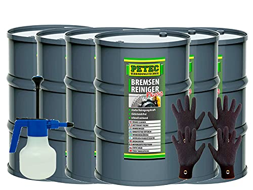 brünte 2X Feingrip Handschuhe Gr.9/L + PETEC 6x60L Fass Bremsenreiniger flüssig + Pumpzerstäuber Kunststoff Blau Weiß