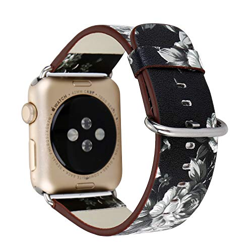 Baymyer Painted Floral Leather for Apple Watch Band 38mm 40mm Women Replacement Strap Bracelet for iWatch Series 4 3 2 1