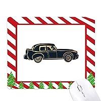 黒クラシックカーのパターンのシルエット ゴムクリスマスキャンディマウスパッド