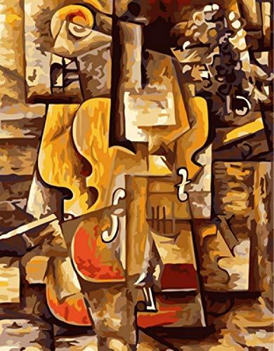 YKHAHA DIY Malen Nach Zahlen Picasso-Geige Vorgedruckt Leinwand-Ölgemälde Geschenk Kits Home Haus Dekor - 40 * 50 cm (Ohne Rahmen)