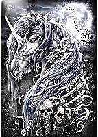 DMFNGJSD 数字油絵 フレーム付き 、数字キット塗り絵 手塗り DIY絵-馬の頭蓋骨の骨格-デジタル油絵 40x50 cm