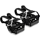 DUCKKOKO SPD Spin Bike Pedals for Exercise,9/16'' Indoor Cycling Hybrid Pedals with Clips In,Exercise Bike Pedals with Toe Clips and Straps,Toe Cages for Peloton Bike Spinning Bike Accessories for Gym