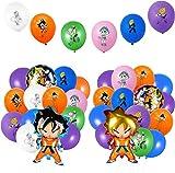 BeYumi 56Stück Dragon Ball Luftballons Party Favors Kit, Wukong Son Goku Super Saiyajin Folie Ballons Mehrfarbig Latex Luftallons für Dragonball Themen Geburtstag Party Dekorationen