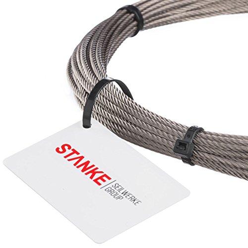 Seilwerk STANKE Drahtseil für Duschvorhang Edelstahlseil 3mm 7x7 INOX Stahlseil rostfrei Geländer Edelstahl, 1m