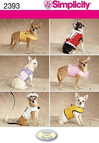 Simplicity Schnittmuster für kleine bis mittelgroße Hundekleidung und Jacken, Größen XXS bis M