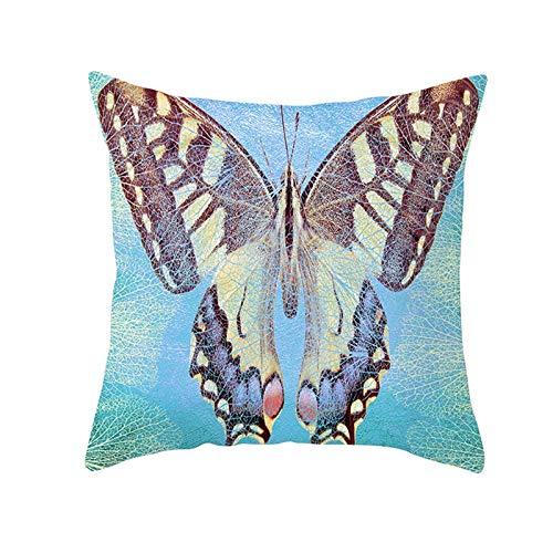AtHomeShop - Fundas de cojín de 50 x 50 cm, poliéster con diseño de mariposa, suave, cómodo, cuadrado, para el hogar y el sofá, dormitorio, decoración, marrón, azul, 50 x 50 cm