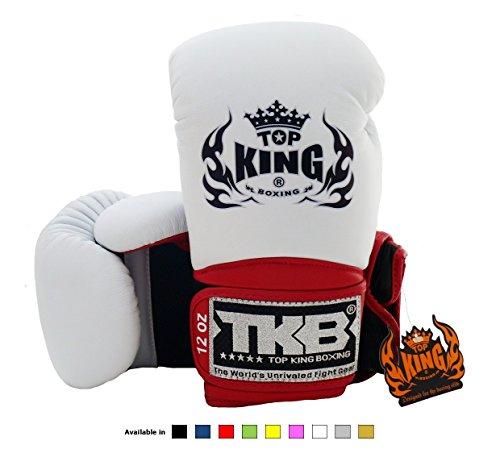 Top King - Guanti da Muay Thai, MMA o box, modello Super Air TKBGSA,colore rosa-, Black/White/Red, 16 oz