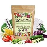 Vegetable Garden Seeds for Planting - 15 Varieties Seed Packets Kit,...