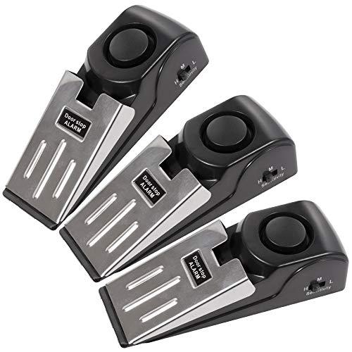 TOWODE Wireless Wedge Door Stopper And Door Stop Alarm with 120 dB - Great for Traveling DIY Home Apartment Security Door Stopper Doorstop Safety Tools (Pack of 3)