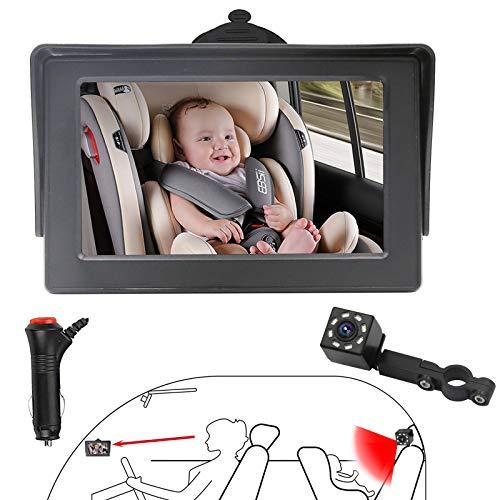 OBEST Cámara para Bebé Asiento Trasero, Cámara Monitor Bebé Coche con Visión Nocturna HD Ajustable 360°, Vista Amplia de 150 °, 4,3' pantalla, Observa Cada Movimiento del Bebé