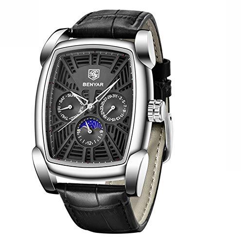 YIBOKANG Negocios para Hombres Casual Deportes Vino Calendario Calendario Plataforma Mensual 30M Reloj De Cuarzo Impermeable Actividad De Moda con Reloj De Regalo