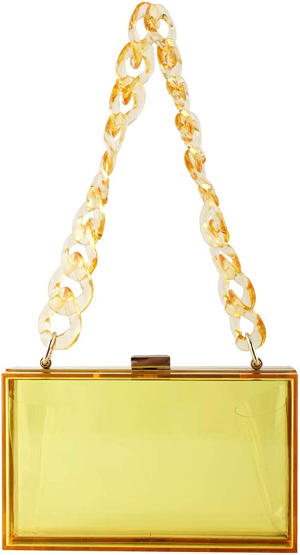 LETODE Clear Purse Acrylic Box Evening Clutch Bag Crossbody Shoulder Handbag for Women