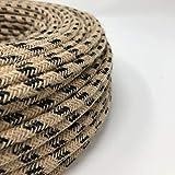 Cable de tela para lámpara, cable de tela de 2 hilos (2 x 0,75 mm2) - Yute/algodón negro. Fabricado en Italia. (5 Metri)